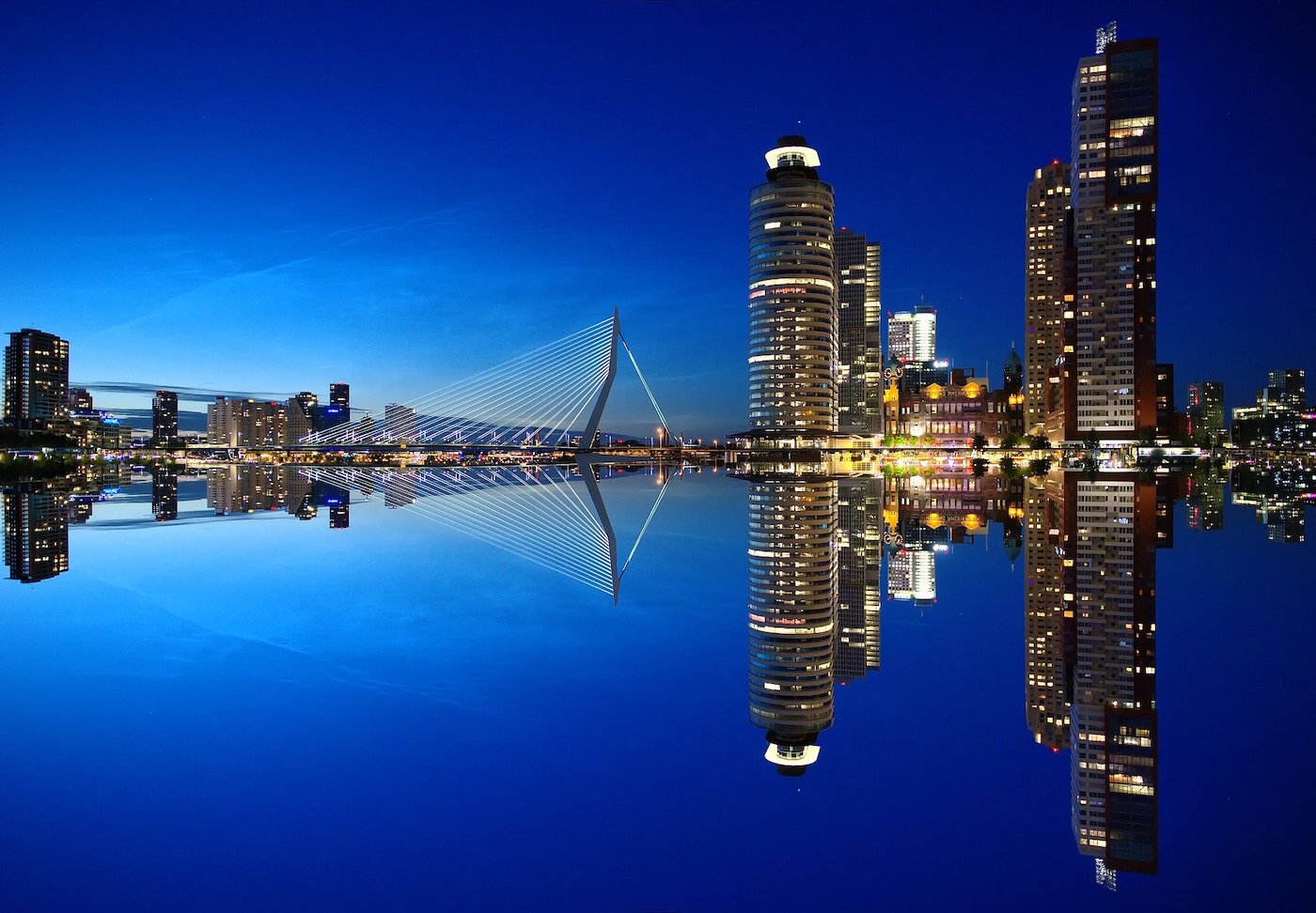 Rotterdam with a mirror image